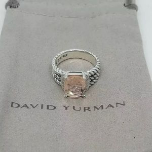 David Yurman Morganite Diamond Wheaton Ring Size 7
